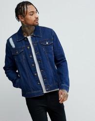 Hoxton Denim Dark Wash Denim Jacket with Rips - Blue