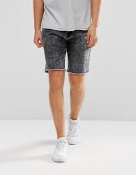Hoxton Denim Denim Shorts with Unrolled Hem - Black