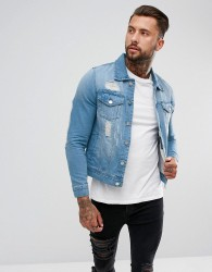 Hoxton Denim Extreme Rip Denim Jacket in Light Wash - Blue