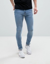 Hoxton Denim Extreme Skinny Jeans in Bleach Blue Wash - Blue