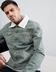 Hoxton Denim Khaki Denim Jacket with Borg Collar - Green