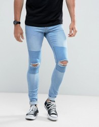 Hoxton Denim Light Wash Extreme Skinny Jeans with Knee Rips and Patch - Blue