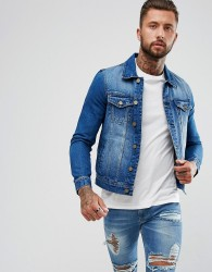 Hoxton Denim Mid Was Blue Denim Jacket - Blue