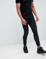 Hoxton Denim Muscle Fit Cropped Jeans in Black - Black
