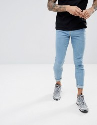 Hoxton Denim Muscle Fit Cropped Jeans in Light Wash - Blue