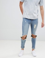 Hoxton Denim Muscle Fit Jeans with Busted Knees in Mid Wash - Blue