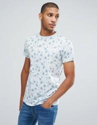 Hoxton Denim Palm Print T-Shirt - Blue