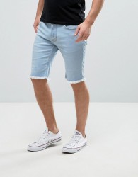 Hoxton Denim Raw Hem Shorts in Ice Wash Blue - Blue