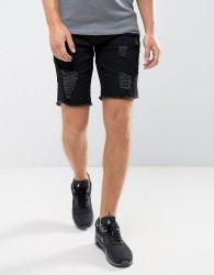 Hoxton Denim Ripped Denim Shorts - Black