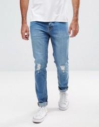 Hoxton Denim Skinny Jeans in Mid Blue - Blue