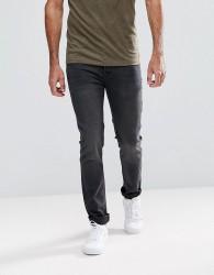 Hoxton Denim Skinny Jeans in Washed Black - Black