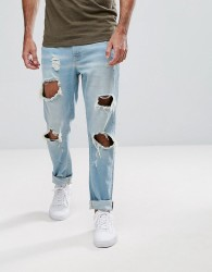 Hoxton Denim Slim Fit Jeans with Busted Knees - Blue