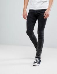 Hoxton Denim Super Skinny Jeans in Acid Wash with Unrolled Hem - Black