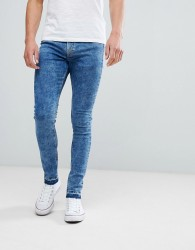 Hoxton Denim Super Skinny Jeans in Acid Wash with Unrolled Hem - Blue