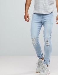 Hoxton Denim Super Skinny Jeans in Light Blue - Blue
