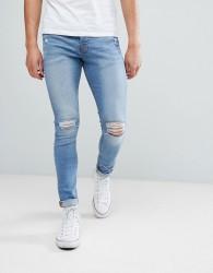 Hoxton Denim Super Skinny Jeans in Mid Blue - Blue