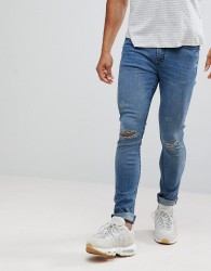 Hoxton Denim Super Skinny Jeans in Mid Blue with Unrolled Hem - Blue