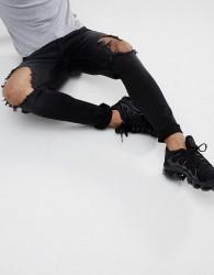 Hoxton Denim Super Skinny Jeans in Washed Black - Black