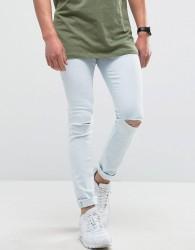 Hoxton Denim Super Skinny Light Wash Jeans with Knee Rip - Blue