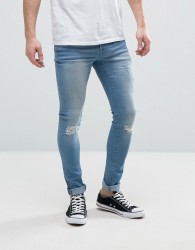 Hoxton Denim Super Skinny Mid Wash Jeans with Ripped Knee - Blue