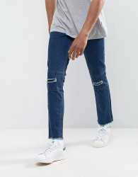 Hoxton Denim Vintage Cropped Patchwork Slim Fit Jeans with Raw Hem and Rips - Blue