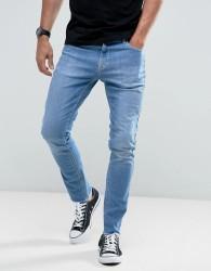 Hoxton Denim Vintage Cropped Slim Fit Jeans in High Blast with Raw Hem - Blue