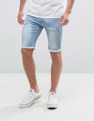 Hoxton Denim Vintage Light Wash Shorts with Raw Hem in Skinny Fit - Blue