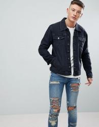 Hoxton Denim Washed Black Denim Jacket - Black
