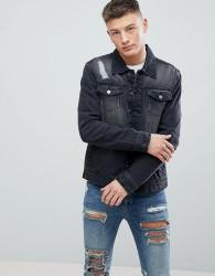 Hoxton Denim Washed Black Denim Jacket with Rips - Black
