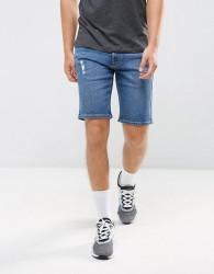 Hoxton Denim Washed Blue Denim Shorts - Blue