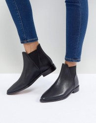 Hudson Clemence Black Leather Flat Chelsea Boots - Black