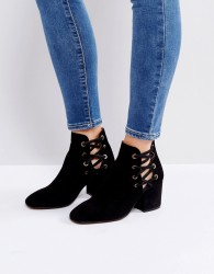 Hudson Kris Suede Cut Out Ankle Boots - Black
