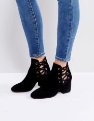 Hudson Kris Suede Cut Out Ankle Boots - Black