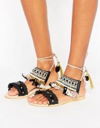 Hudson London Bahamas Pom Pom Charm Flat Sandals - Black