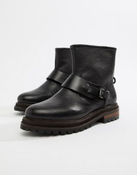 Hudson London Black Leather Biker Ankle Boot with Buckle - Black