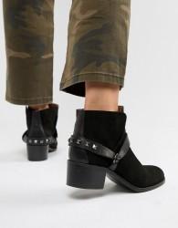 Hudson London Black Suede Western Ankle Boots - Black