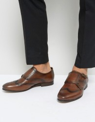 Hudson London Castleton Leather Monk Shoes - Brown