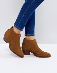 Hudson London Ernest Tan Suede Flat Ankle Boots - Tan