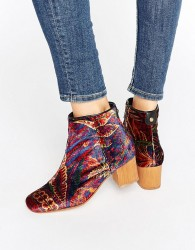 Hudson London Garnett Liberty Velvet Mid Ankle Boots - Multi