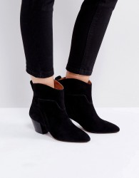 Hudson London Karyn Black Suede Mid Heeled Ankle Boots - Black