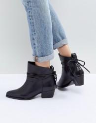 Hudson London Macha Black Leather Mid Heeled Ankle Boots - Black