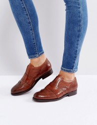 Hudson London Maddie Tan Leather Slip On Brogues - Tan