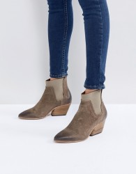 Hudson London Malia Taupe Suede Ankle Boots - Grey