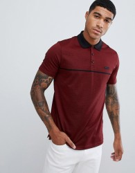 HUGO Dadge badge logo cotton polo in burgundy - Red