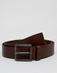 HUGO Gionio leather belt in brown - Brown