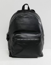 HUGO National Leather Backpack with Logo Zip Detail in Black - Black