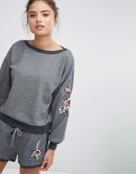Hunkemoller Relaxed Volume Lounge Embroidered Jumper - Grey