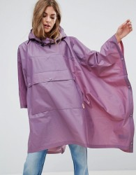 Hunter Clear PU Pouched Rain Poncho - Purple