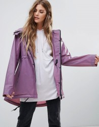 Hunter Clear PU Smock Short Raincoat - Purple