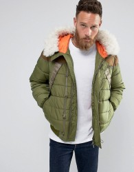 Hunter Hooded Fur Lined Bomber Jacket in Green - Green